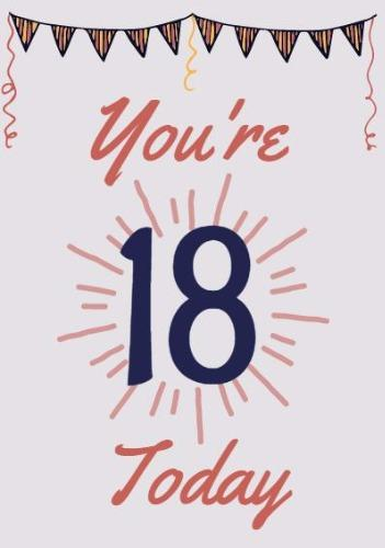 18th Birthday Card Sunburst