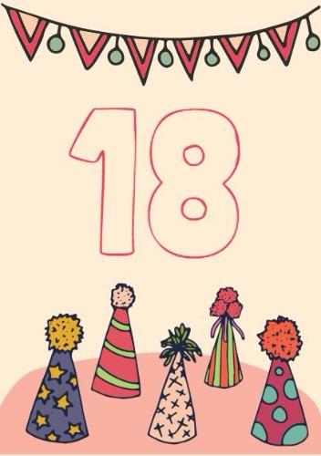Create customized 18th birthday cards with design wizard 18th birthday card party hats cover bookmarktalkfo Choice Image