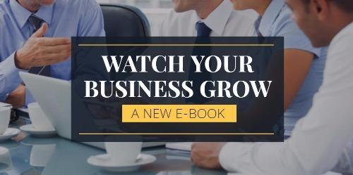 """E-book banner with men in shirts and ties and text reading """"Watch Your Business Grow"""""""
