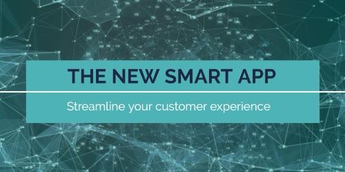 """Teal coloured YouTube Channel Art with text reading """"The New Smart App"""""""