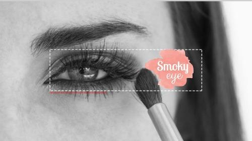 Black & white picture of womens eye with make-up brush for a beauty channel on Youtube