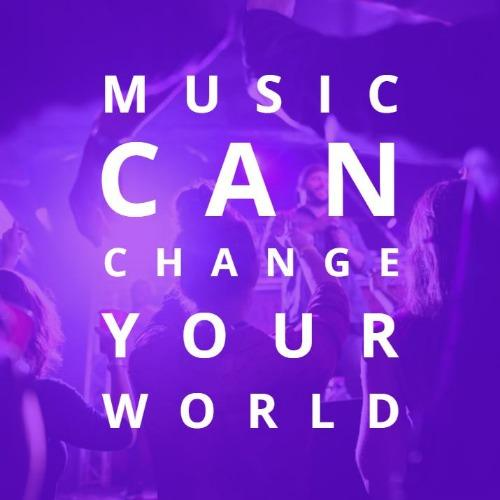 """Purple square design & picture of music concert with text reading """"Music Can Change your World""""."""