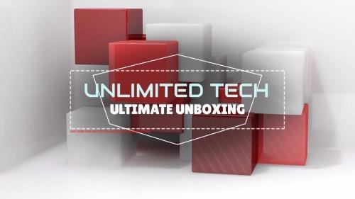 Youtube Channel Banner - Unlimited Tech - Unlimited Unboxing with 3d Block Designs in Red & Grey